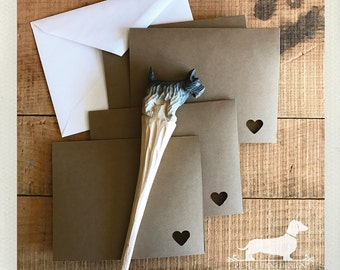 CLEARANCE! Mini Heart. Brown Kraft Note Cards (Set of 4) -- (Valentine Card, Vintage-Style, Baby Shower, Cute Thank You Card, Bridal Shower)