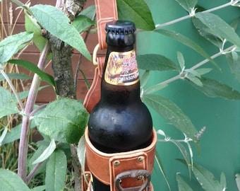 Beer bottle carrier with bottle opener