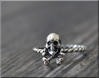 Sterling Silver Skull Stacking Ring, Stacking Jewelry, Jolly Roger Jewelry, Novelty Ring, Pirate Ring, Skull and Cross Bones Stacker Ring