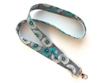 Fabric Keychain Lanyard - Organic Cotton - ID Name Badge Holder - Gray, Blue, White Design - Key Fob - Key Holder Lanyard - Teacher - Nurse