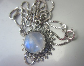 Silver Pendant with Blue Flash Moonstone