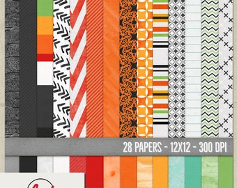 Digital and Printable Scrapbooking Papers - Instant Download - 12x12 300 dpi - Happy Halloween Papers Set