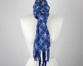 Paw Polyester Sheer Fashion Accessory Scarf Blue Frayed Edge Dog Cat Animal