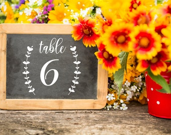 Table Number Decal, Laurel Wreath Number, Vinyl Table Number, Wedding Reception Decor, Rustic Wedding Table Number, Centerpiece Decal