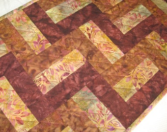 Quilted Table Topper, Batik 3-Rail Fence, Burgundy-Brown