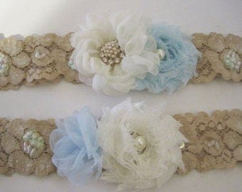 """Gorgeous Ivory or Champagne Beaded 1 1/2"""" Stretch Lace Bridal Wedding Garter Set Something Blue with Pearl and Rhinestone Accents"""