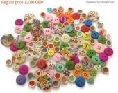 On Sale ON SALE 75gms Random Assorted Wooden Buttons - Assorted Multi Sized Buttons - Random Mixed Buttons