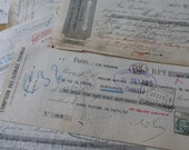 Antique Paper Checks, Antique French Papers, Large Cheques, Checks,   Circa 1920 / 1930's