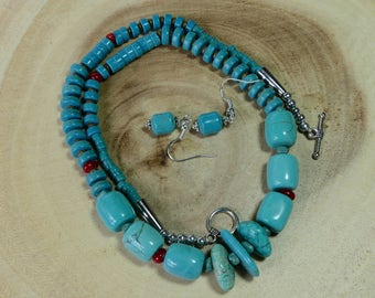 20 Inch Southwestern Turquoise and Coral Necklace with Earrings