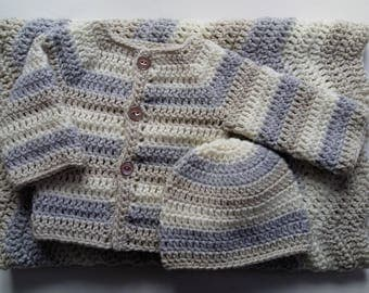 Crochet Baby Ripple Blanket, Sweater and Hat Set Gift Baby Christening Baptism Baby shower Afghan