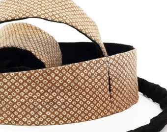 Mini Obi belt Katsumi - white, light brown and black belt with black braided straps- 100% cotton-japanese pattern- shibori style