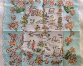 Arizona Hankie Hanky Handkerchief Travel Souvenir Hankie State Map Hankie Scalloped Edge Franshaw