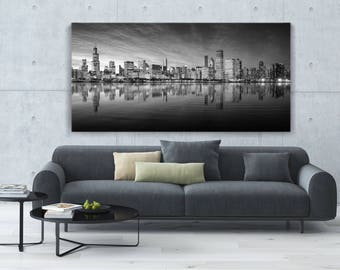 """Extra Large Chicago Skyline Picture on Paper or Canvas! 40""""×80"""" and other sizes, Three colors, Ready to hang or prints, FREE SHIPPING USA!"""