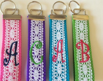 Lace Monogrammed Key Fob Keychain Cotton Webbing Lace Wristlet, Choose Webbing Color, key ring, personalize