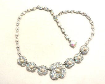 Bogoff Rhinestone Necklace, Blue Glass, Pearl, Flower, Silver Tone, Art Deco Wedding, Bridal, Vintage Jewelry SPRING SALE