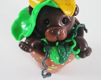 Bear Brown Sunflower Gardening Pot Polymer Clay Sculpture Art Flowers Cabin Hippie Birthday Celebration Mother's Day Gift