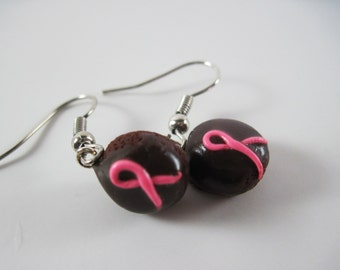Pink Awareness Ribbon Chocolate Cupcake Earrings Polymer Clay Jewelry Breast Cancer Survivors Remembrance Fight