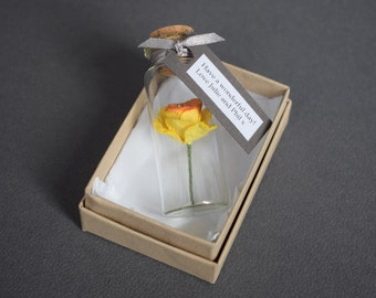 Easter gifts etsy tiny paper daffodil in a bottle with personalised tag alternative card mothers day gift negle Images