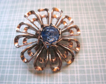 Vintage Flower Brooch 1960s Atomic Pin Silver Tone and Blue Bead Center