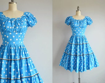 Vintage 50s Dress / 1950s Turquoise Polka Dot Cotton Tiered Circle Skirt Dress / Square Dance Dress with Rick Rack