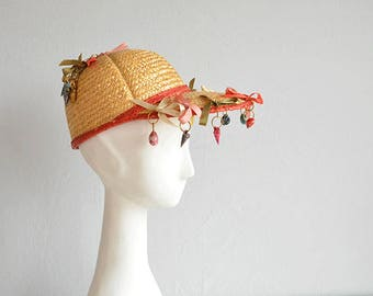 Vintage 50s Straw Hat / 1950s Natural Straw Sun Hat / Novelty Sea Shells Beach Wide Brim Hat / Made in Italy