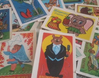 collection of 36 pcs USSR pocket calendars PC - soviet cartoons and fairy tale