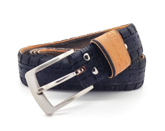 """Bicycle Tire Belt """"Type"""" (upcycled vegan handmade) by Tire Belt Co. Fall Collection 2016"""