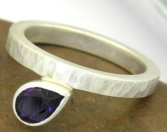 SALE 2 days only Teardrop Amethyst Silver Ring. Hammered Finish February Birthstone Ring in 925 Sterling Silver. Pear Shape Amethyst Birthst