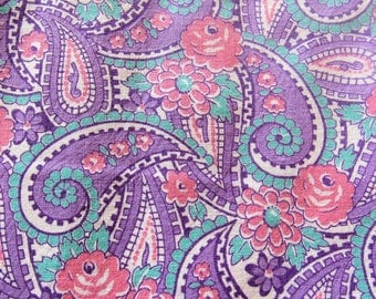 vintage FULL feed sack fabric -- pink roses paisley floral print