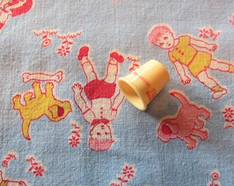 vintage feed sack fabric -- children playing novelty print