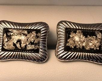 Original Vintage Hickok Monte Carlo Silver Leaf Cufflink Set