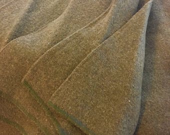Vintage US Military Blanket Khaki Olive Green Wool Army , Vintage Military Bedding