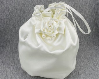 Elegant bag purse for your wedding, special occasion, communion made of satin and decorated with flower IVORY or white, burgundy...