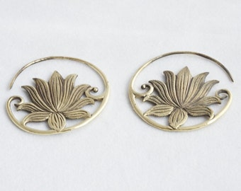 Gold Brass Lotus Flower Hoop Earrings