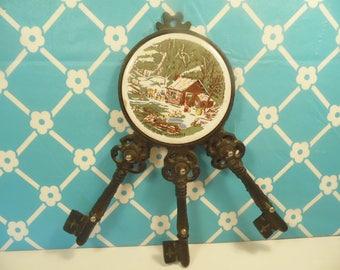 Cast Iron Key Holder - Wall Hanging - Rustic Cabin Ceramic Tile - Taiwan