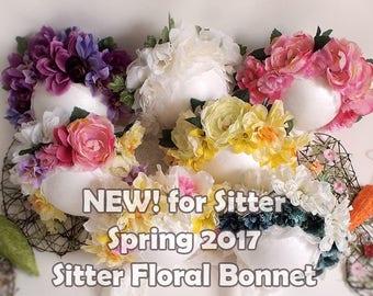 Sitter Size 6-24M Flower Bonnet - Newborn photography props