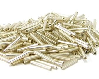 Silver Bugles -  Length- 10mm - 0.5 lb per bag