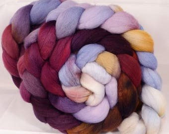 Hand dyed top for spinning - Provence  - (4.8 oz.)polwarth /tussah silk (85/15)
