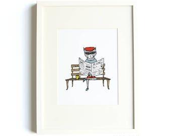 Mr. Raccoon - Animal Illustration, Raccoon Print, 8 x 10 Illustration Print