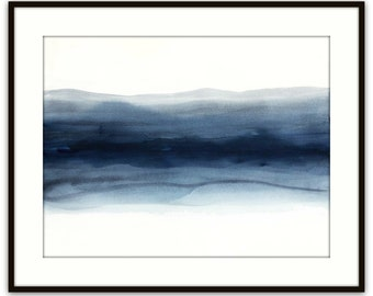 "Large original painting, minimal watercolor abstract painting, 'Blue Zip with Indigo' wall art, 22"" x 30"" mid century, Victoria Kloch"