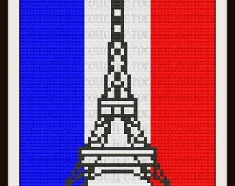 Eiffel Tower Afghan, C2C Graph with Written Word Chart
