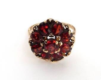 Vintage 14k Genuine Garnet Ring Cluster Flower Yellow Gold Ring Size 7 from TreasuresOfGrace