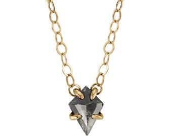 Geometric Gray Diamond Necklace, 14k yellow gold
