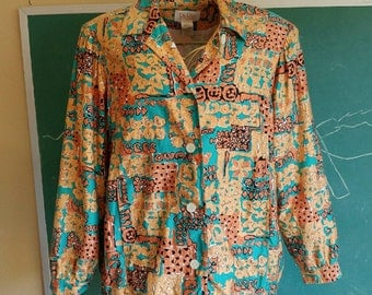 Vintage 90s Spring Light Cotton Sateen Lined Jacket with Pockets / Union Label / Turquoise Tan Beige / Made in USA / Da-Rue of California XL