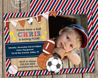 Sports Banner Boy Birthday Party Photo Invitation Digital Printable or Printed, any color any wording any age
