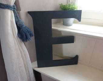 Retro Shop Sign Letter E In Dark Teal Acrylic or Resin Vintage French Reclaimed Boutique