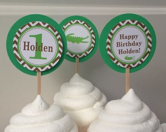 PREPPY CHEVRON ALLIGATOR Happy Birthday or Baby Shower Cupcake Toppers Set of 12 {One Dozen} - Green Brown - Party Packs Available