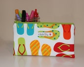 Medium Zipper Pouch - Multi-color Flip Flops Yellow Red Teal Orange - Wallet Grocery Money Pencil Pouch Cosmetic