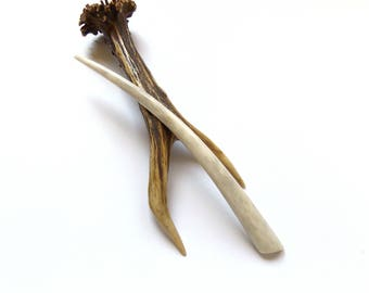 Hair Stick Deer Antler, Bone Carving, White Forest Native Hairpin Hair Pick, Tribal Jewelry, Natural Hair Accessories Handmade by MariyaArts