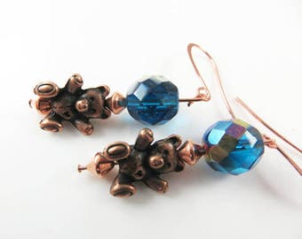 Girls copper teddy bear earrings